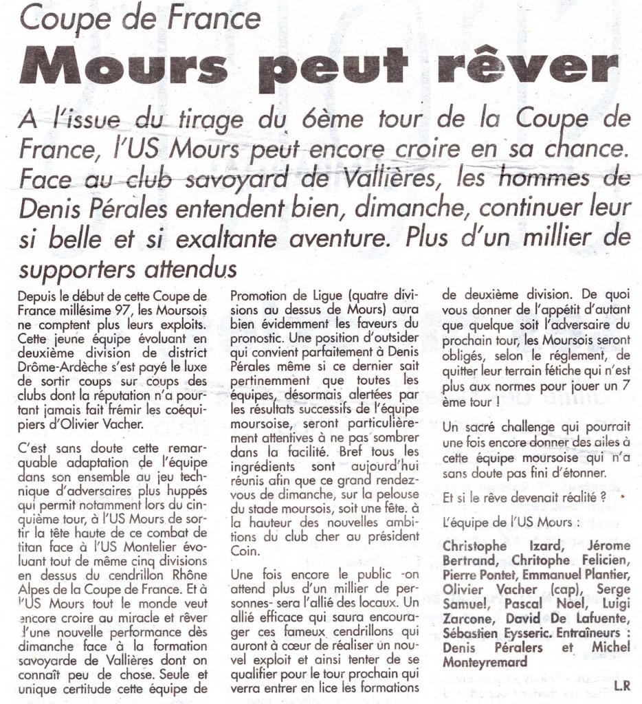 L'épopée en Coupe de France, saison 96/97