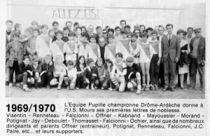 L'équipe pupilles championne en 1969/1970