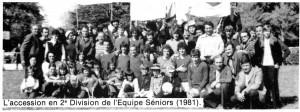 L'équipe sénior de 1981, qui accède en 2ème division