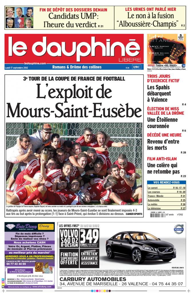 La Une du Dauphiné le lundi 17 septembre 2012 suite à l'exploit des moursois